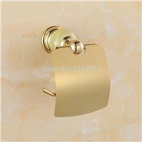Hotel Toilet Roll Paper Holder Tissue Box Luxury Jade Golden Finished Wall Mounted Roll Tissue Holder Waterproof ZR2315