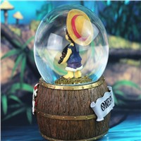 Creative home accessories rotating snow crystal ball music box One Piece Chaba music crystal ball gifts