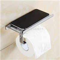 Stainless Steel 304 Toilet Paper Holder with Phone Rack Wall Mounted High Quality Chrome Polished Tissue Boxes ZR2336
