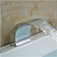 Solid Brass Bathroom Faucet Spout Big Waterfall Faucet Spout Chrome Finish NEW