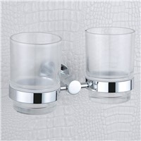 Double Tumbler Holders Wall Mounted Luxury Fashion Polish Chrome Toothbrush and Toothpaste Holders with Glass Cups for Bathroom