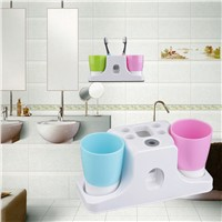 Bathroom 4-Hole Toothbrush Toothpaste Cup Holder Stand Storage Set Durable