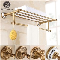 Brass Antique Artistic Towel Rack,towel Shelf with Bar,towel Holder Bathroom accessories Wall Mounted