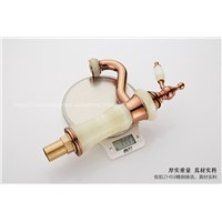 (6 Styles) Natural Jade Marble Design Rose Gold Bathroom Basin Faucet,Copper Mixer Tap Fashion Decorations for Home TP-1103