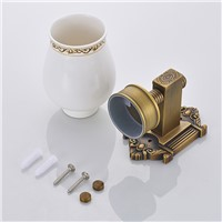 Antique Brass Tumbler Holder Toothbrush Holder In Brass With Single Ceramics Cup Bathroom Accessories