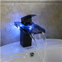 LED Color Waterfall Bathroom Faucet Vanity Sink Mixer Tap Oil Rubbed Bronze Tap