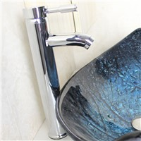 Leaf Shape Tempered Glass Wash Sink With Faucet Basin Chrome Faucet Set Bathroom Sink Bowl  Blue Washbasin Countertop Sink Tub