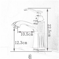 Golden Solid Brass Bathroom Sink Faucet Single Handle Mixer Tap Basin Faucet with Cover Plate