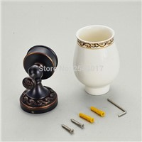High Quality Euro Style Cup&Tumbler Holder Single Ceramic Cup Bathroom Accessories Wall Mounted Black Carving Finished ZR2662