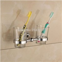 Bathroom Toothbrush Holder Chrome Polished Cup&Tumbler Holder Double Glass Cup Bathroom Accessories Wall Mounted ZR2666