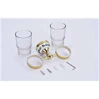 Bathroom Toothbrush Holder Golden Finish Cup&Tumbler Holder Double Glass Cup Bathroom Accessories Wall Mounted ZR2667
