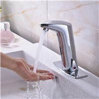 Wholesale And Retail Promotion Tall Bathroom Sensor Faucet Mixer Tap Deck Mount Hot And Cold Water W/ Square Plate