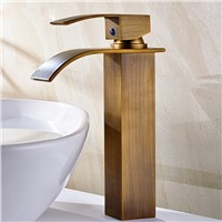 Antique Brass Deck Mounted Bathroom Sink Faucet Single Handle Basin Mixer Tap Waterfall Spout Tap