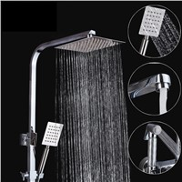 "Contemporary Chrome Finished 8"" Rainfall Shower Set Faucet Single Handle Bath Shower Mixer Tap With Sprayer"