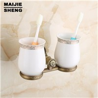 Antique Brass Double Tooth Brush Holder Bathroom Cup Holder Toothbrush Holder Brass antique double cup holder toothbrush