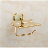 Luxury crystal toilet roll paper rack with phone shelf wall mounted bathroom paper holder and hook