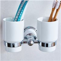 Cup & Tumbler Holders European Style Luxury Gold Toothbrush Holder Tumbler Holder Double Cup Holder Wall Bathroom Fitting 87304
