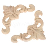 8*8 CM 4Pcs Wood Carved Corner Onlay Applique Unpainted Frame Door Decal  Decoration  Furniture Home Decor