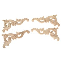 Wood Carved Corner Onlay Applique Frame Decorate Wall Doors Furniture Decorative Figurines Wooden Miniatures 15*8CM Left/Right