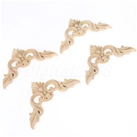 8*8CM Wood Carved Corner Onlay Applique Unpainted Frame Decal carpenter Decoration Furniture Decor 4Pcs