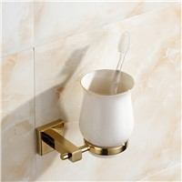 European Golden Copper Cup Holder Polished Solid Brass Toothbrush Holder With Ceramic Cup Wall Mount Bathroom Accessories G67