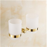 High Quality Bronze Brush Tooth cup holder Gold-plated double cup blue and white Porcelain Double tooth Cup holder