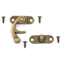 5pcs/set Vintage furniture accessories Jewellery Box Suitcase Lock Hook Case Hasp Hook Hinge Latch Bronze Tone Catch Decorative
