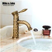 Single Handle Bathroom antique carve brass Basin faucet crane tap Antique bronze Water tap Home water mixer antique tap 8877