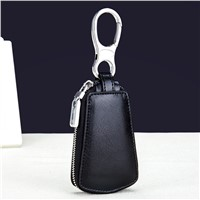 Fashion Key Holder Wallet 100% Genuine Leather Unisex Solid Key Wallet Organizer Bag Car Housekeeper Wallet Card Holder DC163
