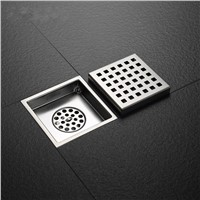 Square Floor Drain Waste Grates Bathroom Shower Drain 110 x 110MM,304 Stainless steel