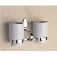 Chrome Double Tumbler Holder Antique Wall Mounted Ceramic Cups Tooth Brush Toothpaste Holders Hardware Bathroom Accessories