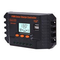 PWM LCD Display Dual USB Solar Panel Battery Regulator Charge Controller Voltage Regulator 12/24V 10A FULI