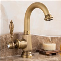 New Water Tap European Style antique brass bathroom faucet hot and cold water basin faucet sink faucet tap carved kitchen faucet