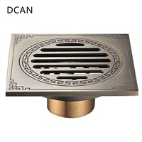 DCAN Waste Antique Floor Drain Brass Bathroom Accessory Euro Linear Shower Wire Strainer Carved Cover Drains Drain Strainers