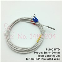2x PT100 Temperature Sensor 3mm*20mm Waterproof Oil Proof Platinum Resistance RTD Probe 3-Core Teflon FEP 3 Wire 2m  -40 ~ 400C