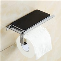 Bathroom 304 Stainless Steel Toilet Paper Box Holder Wall Mount Toilet Paper Holder With Cell Phone Holder Paper Roll Holder