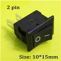 100pcs/lot KCD11 10*15mm 2Pin ON/OFF Mini Boat Rocker Switch 3A/250V Car Truck Dash Dashboard RV ATV Push Button Switch