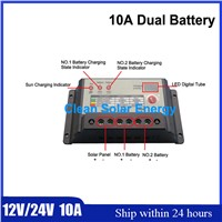 Wholesale 5 PCS PWM Mode Dual Battery Solar Charger controller 10A 12V/24V suitable for PV system,Smart Control