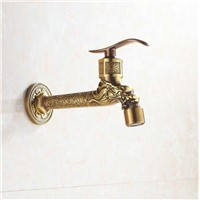 Antique Brass Extended Mop Pool Taps Wall Mount Single Lever Cold Water Sink Faucet