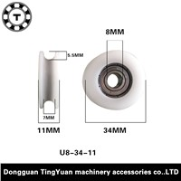 8*34*11mm POM nylon concave round shower room single-tank encapsulates the u-shaped groove pulley furniture small crane wheel