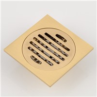 10x10cm Brass Antique Brushed Floor Drain Bathroom Kitchen Shower Roon Porch Square Floor Waste Drain Grate Sanitary