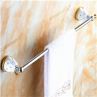 AUSWIND Brass Towel Rack Wall Mounted Towel Rack Holder Crystal Ceramic Base Holder Bathroom Accessories 50 CM
