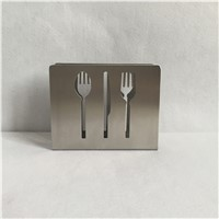 1PCS Creative hollow stainless steel knife and fork spoon Tissue holders bar restaurant tissue holder tissue rack storage WY-010