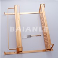 Gold Modern Wall Mount 2Layers Bathroom Towel Holder Aluminium Bathroom Accessories Shower Shelf Towel Rack