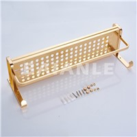 Gold Modern Wall Mount Bathroom Towel Holder Aluminium Bathroom Accessories Shower Shelf Towel Rack