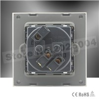 wall power socket  white color crystal glass panel EU standard AC 110~250V 16A wall plug socket Cnskou factory outlet