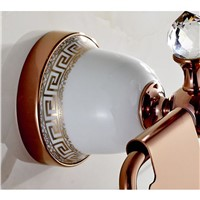 Xogolo Copper Jade Mosaic Crystal Decoration Rose Gold Luxury Wall Mounted Bathroom Toilet Paper Holder Roll Holder
