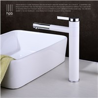 HBP TALL White Bathroom Faucet Lavatory Sink Bar Basin faucet Mixer Tap Rotary Swivel Spout Cold Hot Water tap Fashion Design