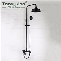 Torayvino Moderate Price  Oil Rubber Bronze Shower Faucet Wall Mounted Ceramic Hot Cold Water Mixer Excellent Bathroom Faucet