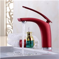 BAKALA 6 Colorful Painted Basin Faucets Hot&Cold Mixer Bathroom Basin Tap Brass Gold/Chrome/White/Red/Black Faucet Crane BR-1526